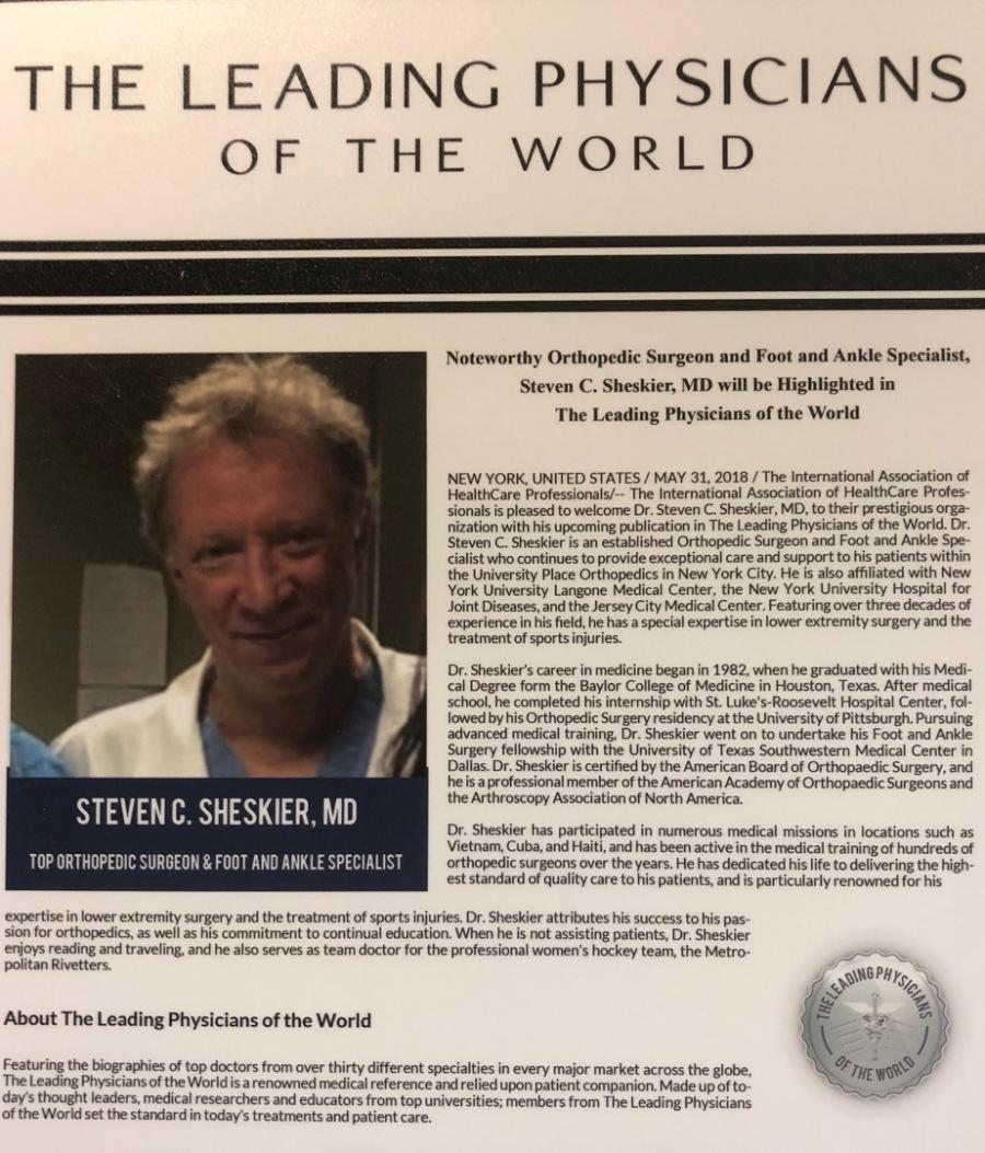 Steven Sheskier, MD is a board certified orthopedic surgeon